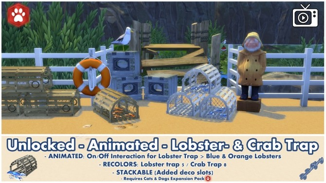 Animated Unlocked Lobster & Crab Trap by Bakie at Mod The Sims image 10512 670x377 Sims 4 Updates