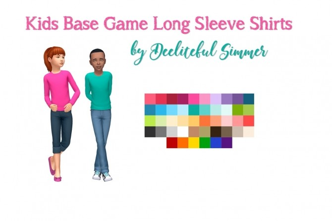 Sims 4 Kids base game long sleeve shirts at Deeliteful Simmer