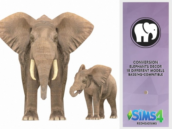 Sims 4 ELEPHANTS DECOR PACK at REDHEADSIMS