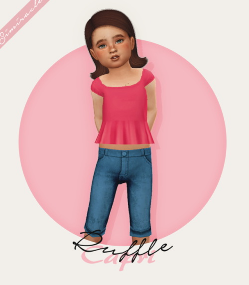 Ruffle Shirt + Capri Jeans Recolor at Simiracle image 11417 Sims 4 Updates