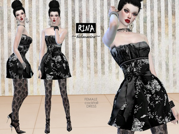 Sims 4 RINA Cocktail Dress by Helsoseira at TSR