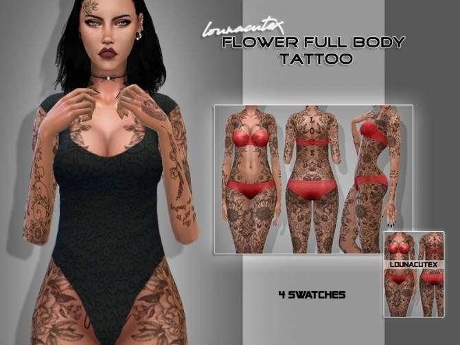 Flower Full Body Tattoo At Lounacutex Sims 4 Updates