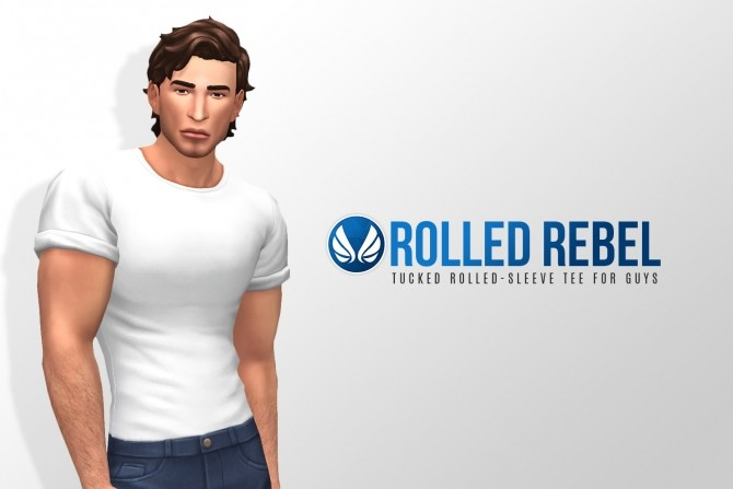 Rolled Rebel Tucked in Tee for Guys at Simsational Designs image 1197 670x447 Sims 4 Updates