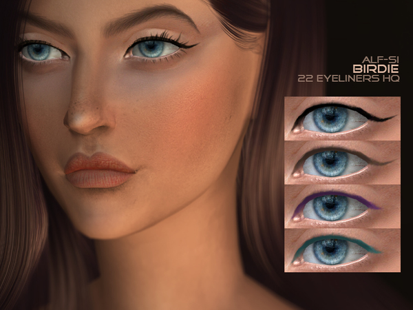 Birdie Eyeliner 07 HQ by Alf si at TSR image 12 Sims 4 Updates