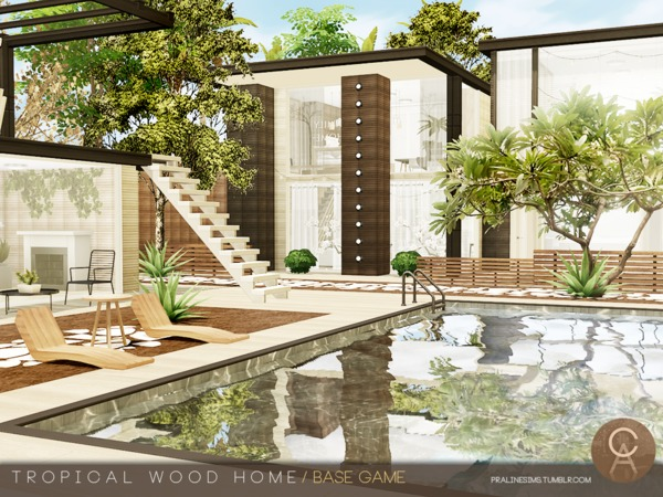 Sims 4 Tropical Wood Home by Pralinesims at TSR