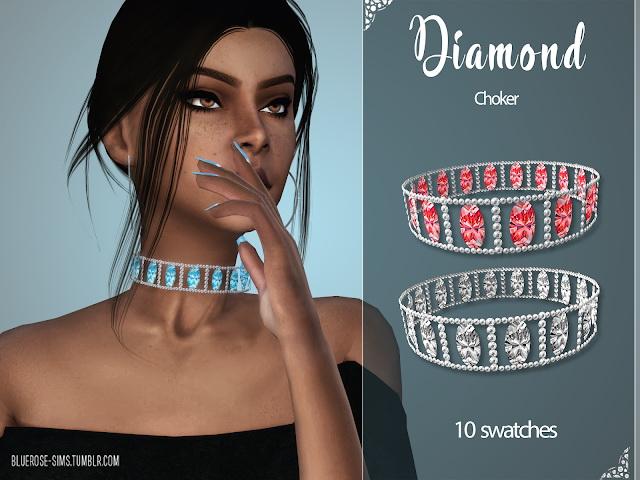 Sims 4 Diamond Choker at BlueRose Sims
