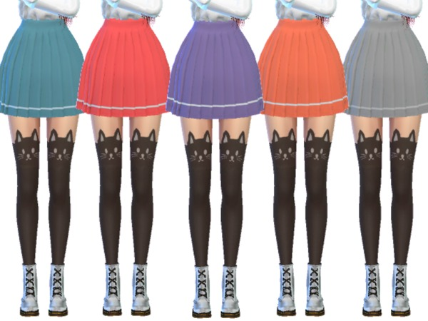 Sims 4 Snazzy Pleated Skirts by Wicked Kittie at TSR