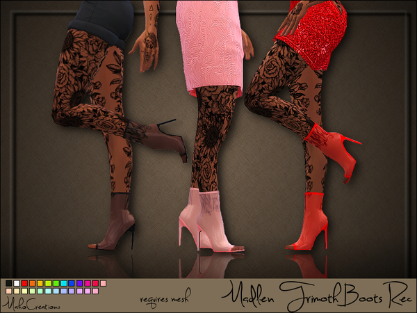 Sims 4 Madlen Trimoth Boots Recolor by MahoCreations at TSR