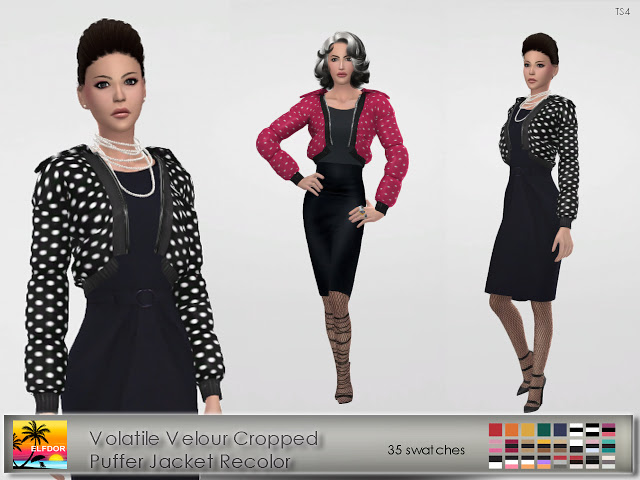 Volatile Velour Cropped Puffer Jacket Recolor at Elfdor Sims image 13912 Sims 4 Updates
