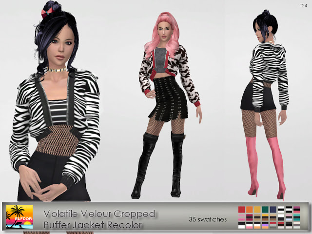 Volatile Velour Cropped Puffer Jacket Recolor at Elfdor Sims image 14012 Sims 4 Updates