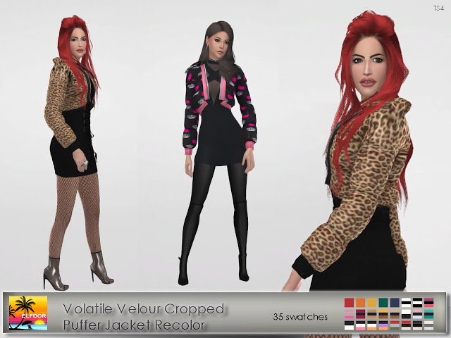Volatile Velour Cropped Puffer Jacket Recolor at Elfdor Sims image 14116 Sims 4 Updates