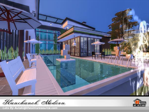 Sims 4 Kanchanok Modern house by autaki at TSR