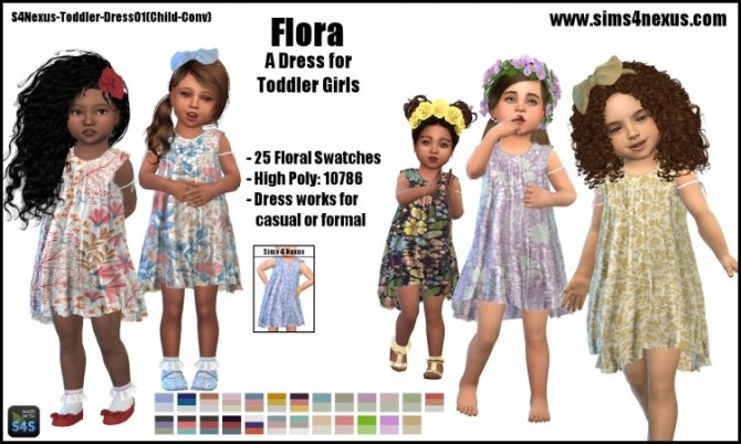 Sims 4 Flora dress by SamanthaGump at Sims 4 Nexus