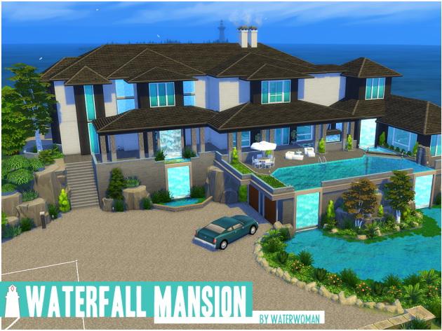 Waterfall Mansion by Waterwoman at Akisima image 1578 Sims 4 Updates