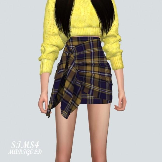 Sims 4 Tied Wrap Skirt Check version at Marigold