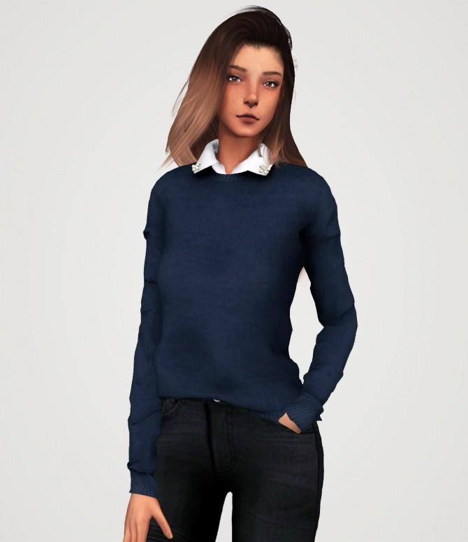 Sims 4 Pearl collar sweater (P) at Elliesimple