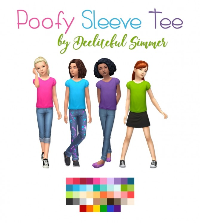 Sims 4 Poofy sleeve tees at Deeliteful Simmer