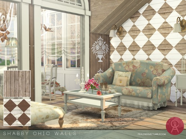 Sims 4 Shabby Chic Walls by Pralinesims at TSR