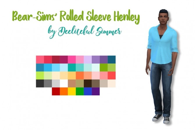 Bear sims rolled sleeve henley at Deeliteful Simmer image 1655 670x446 Sims 4 Updates