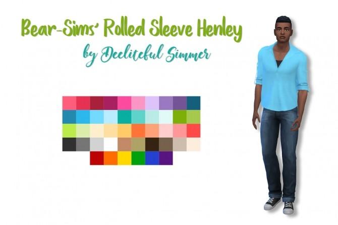 Sims 4 Bear sims rolled sleeve henley at Deeliteful Simmer