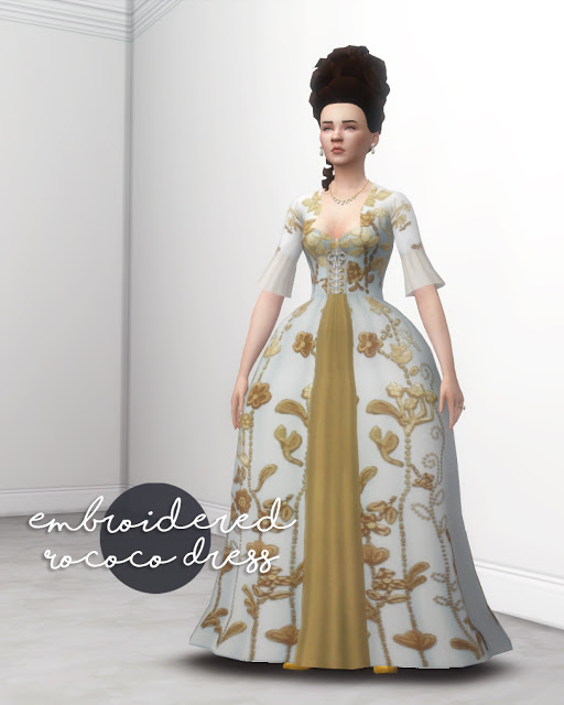 Embroided Rococo Dress at Historical Sims Life image 1738 Sims 4 Updates