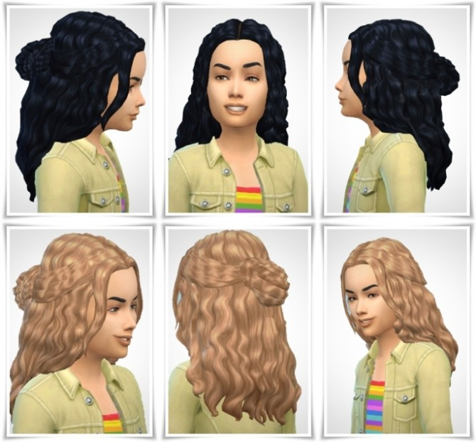 Sims 4 Girlys Halfup Curls Hair at Birksches Sims Blog