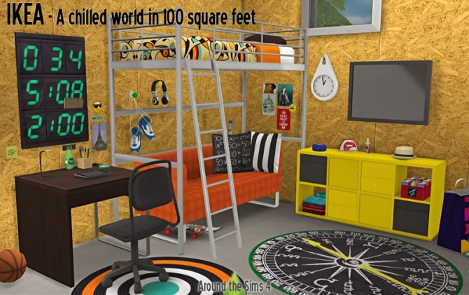 Sims 4 Bedroom for small spaces by Sandy at Around the Sims 4