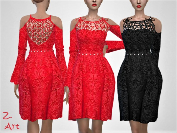 Sims 4 VintageZ 12 lace dress by Zuckerschnute20 at TSR