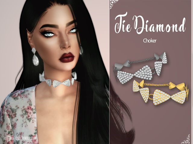 Tie Diamond Choker by Liseth Barquero at BlueRose Sims image 1824 Sims 4 Updates