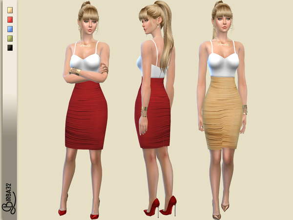 Sims 4 Valentine 2018 Cocktail dress Gold by Birba32 at TSR