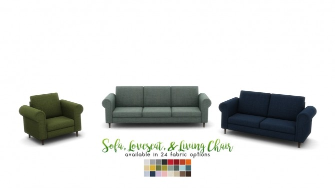 Sims 4 Bradford Seating Rolled Arm Style Sofas at Simsational Designs