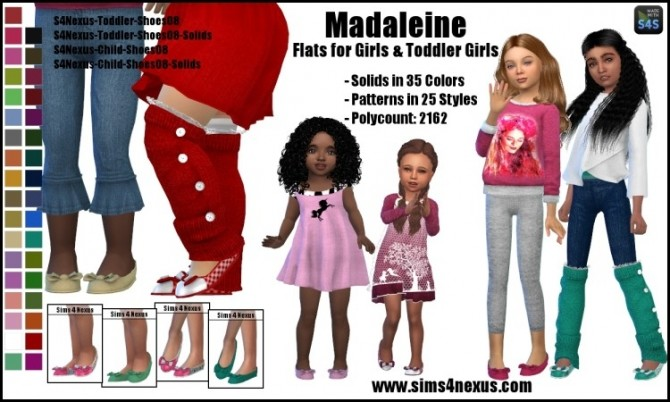 Sims 4 Madaleine flats for girls and toddlers by SamanthaGump at Sims 4 Nexus