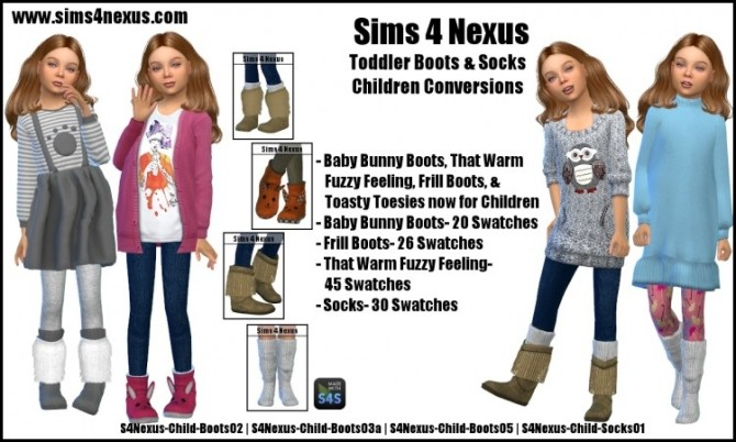 Sims 4 Toddler Boots & Socks Children Conversions by SamanthaGump at Sims 4 Nexus