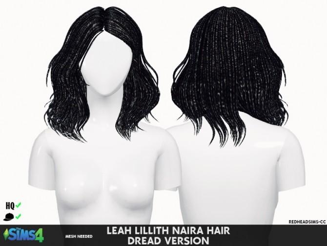 Sims 4 LEAH LILLITH NAIRA HAIR DREAD VERSION by Thiago Mitchell at REDHEADSIMS
