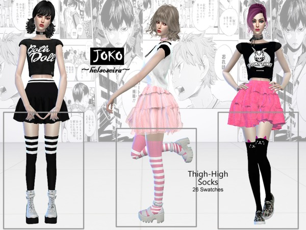 JOKO Thigh high Socks by Helsoseira at TSR image 20 Sims 4 Updates