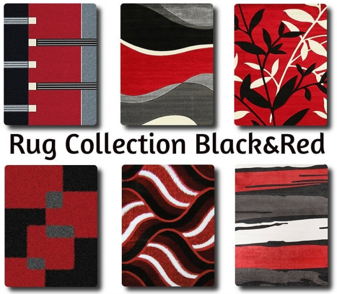 Sims 4 Black and Red rugs collection at TaTschu`s Sims4 CC
