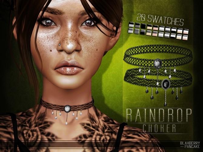 Sims 4 Raindrop choker at Blahberry Pancake