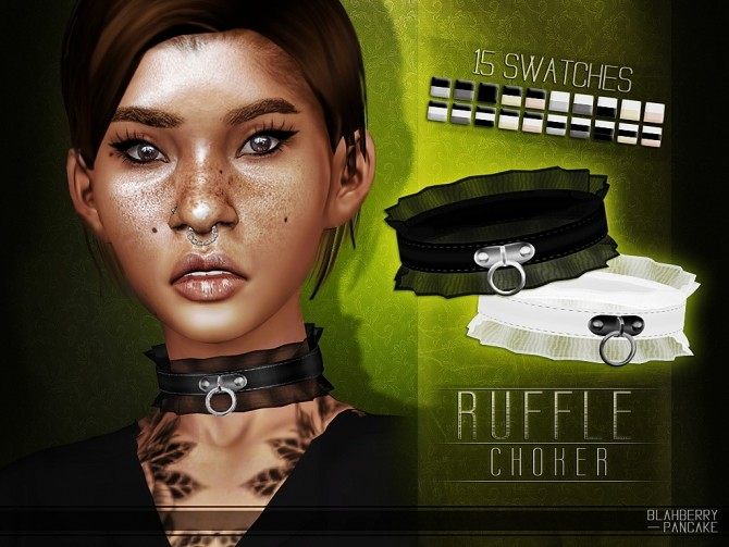 Ruffle choker at Blahberry Pancake image 2071 670x503 Sims 4 Updates