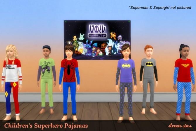 Sims 4 Kids Superhero Pajamas at Strenee Sims
