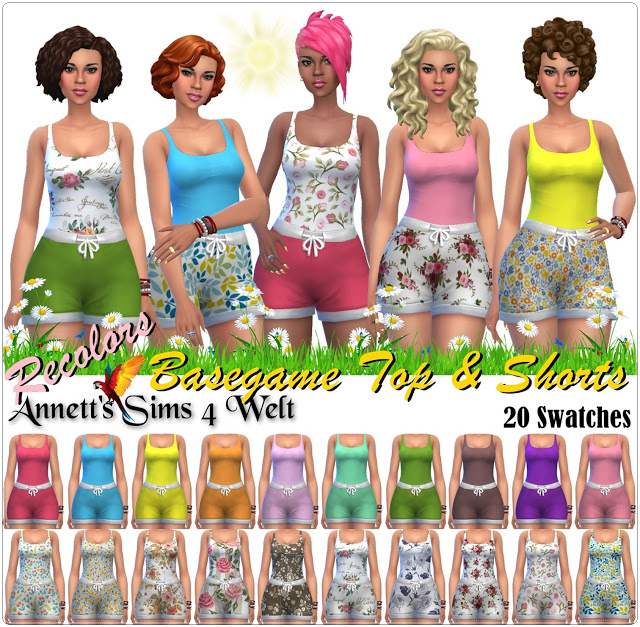 Sims 4 Basegame Tops & Shorts Recolors at Annett's Sims 4 Welt