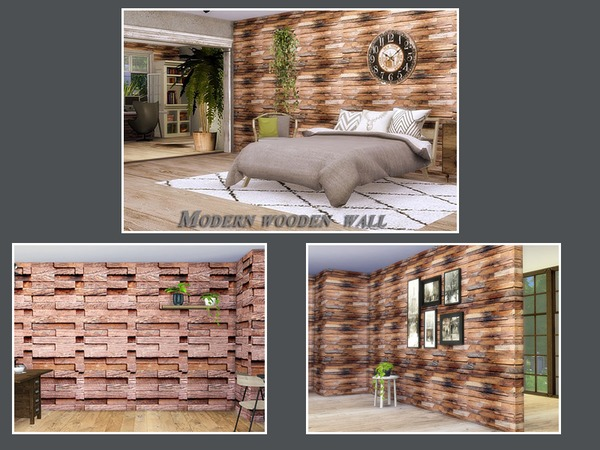 Modern wooden wall by Danuta720 at TSR image 2323 Sims 4 Updates