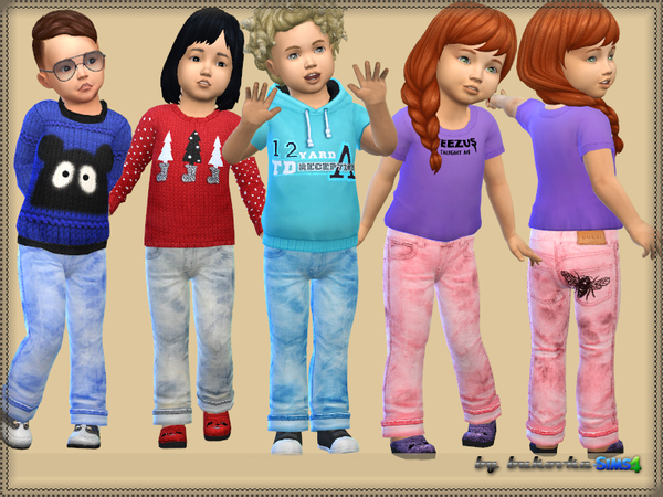 Denim pants for kids by bukovka at TSR image 2327 Sims 4 Updates