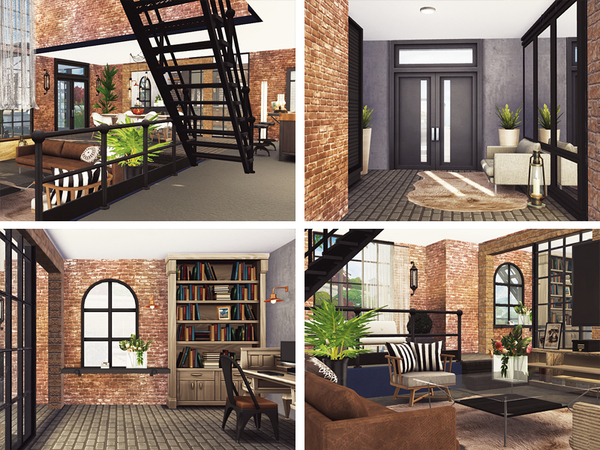 Sims 4 Vanda old factory converted into modern home by Rirann at TSR