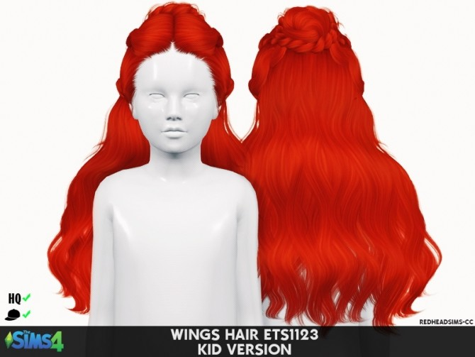 Sims 4 WINGS HAIR ETS1123 KIDS VERSION by Thiago Mitchell at REDHEADSIMS