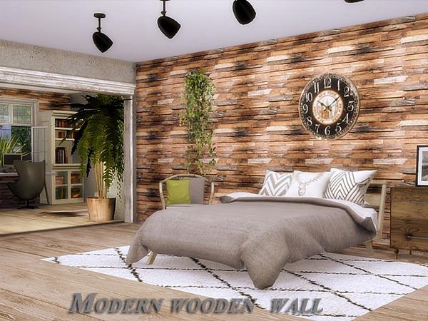 Modern wooden wall by Danuta720 at TSR image 2416 Sims 4 Updates