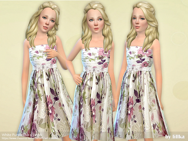 White Purple Floral Dress by lillka at TSR image 2420 Sims 4 Updates