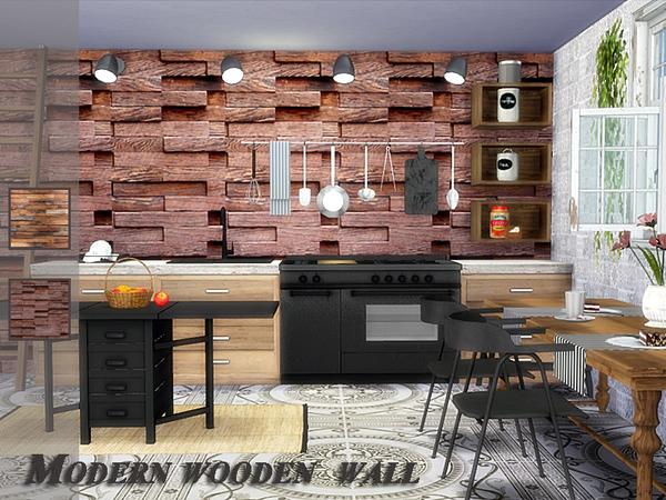 Modern wooden wall by Danuta720 at TSR image 2513 Sims 4 Updates