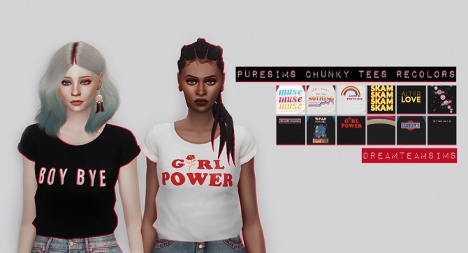 Sims 4 Puresims Chunky Tees Recolors at Dream Team Sims