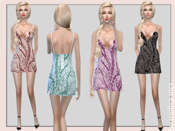 Sims 4 Strappy Sequin Dress by melisa inci at TSR