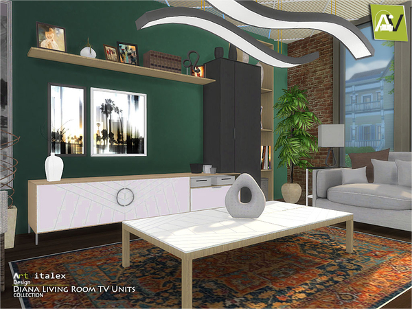 Diana Living Room TV Units by ArtVitalex at TSR image 273 Sims 4 Updates